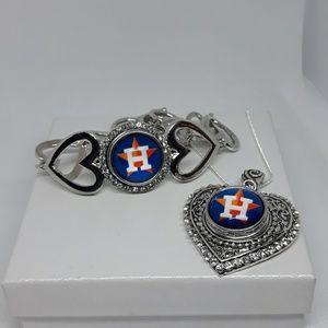 Houston Astros Necklace and Bracelet Set